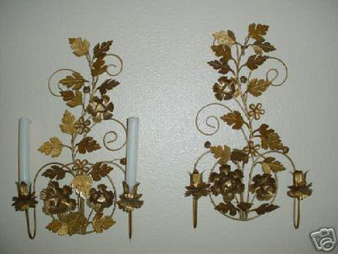 Vintage Pair of Italian Tole Metal Wall Sconces .