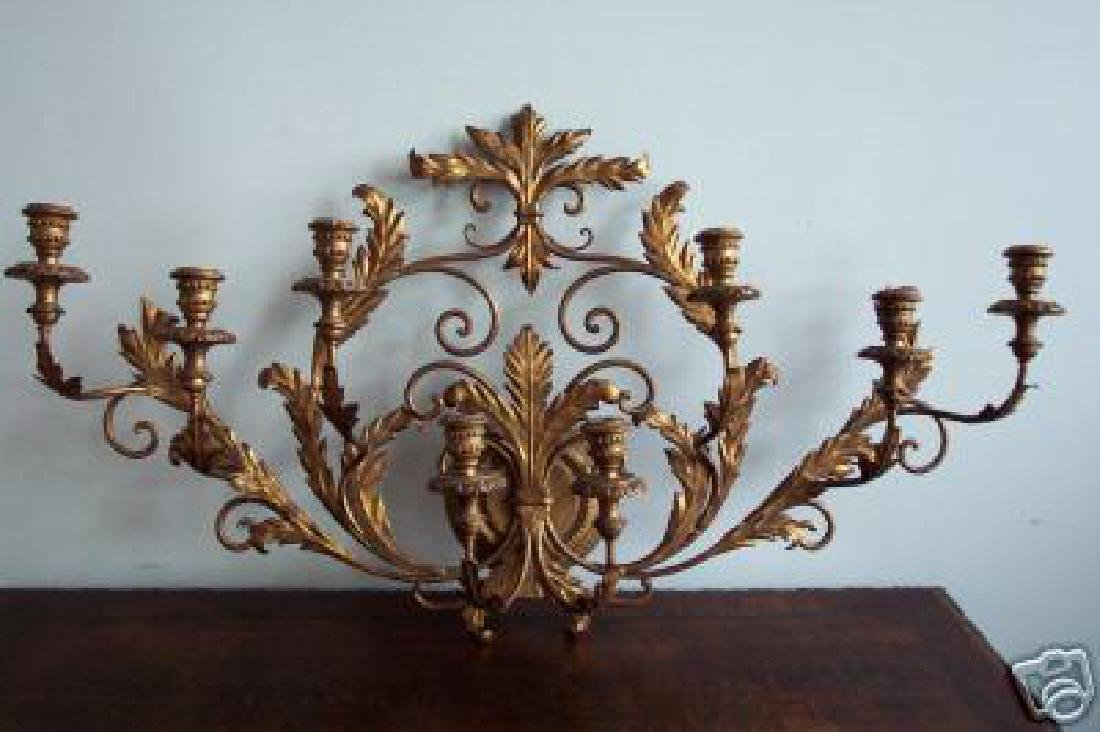 VINTAGE ITALIAN GILT METAL CANDLE WALL SCONCE