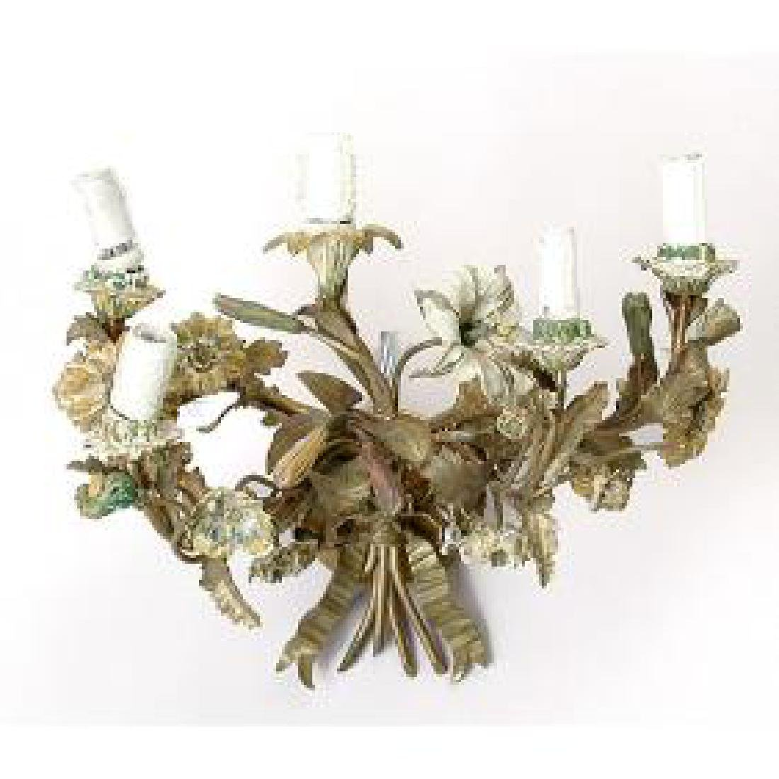 19 th  c. French Floral Wall Sconce .
