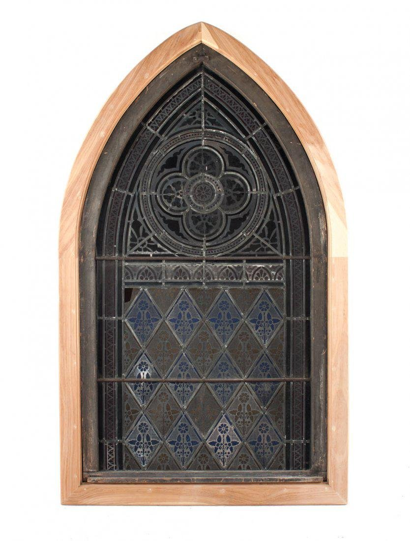 Gothic Revival leaded & stained glass window