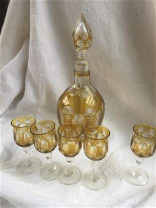 Lot of Vintage 5 Bohemian hand Painted Cordial Glass