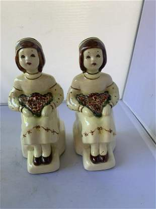 Pair of ceramic Hand Painted Book Ends