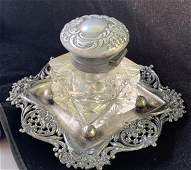 Antique Art Deco Silver Plated by Meriden Crystal Cut