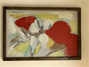 Signed Anthony Scornavacca Oil on Canvas Football