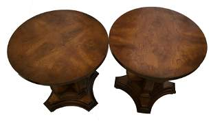 Two Small Antique Walnut Round Tables Made by Columbia