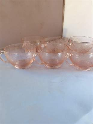 Vintage Lot of SIX Depression Etched Tea Cups