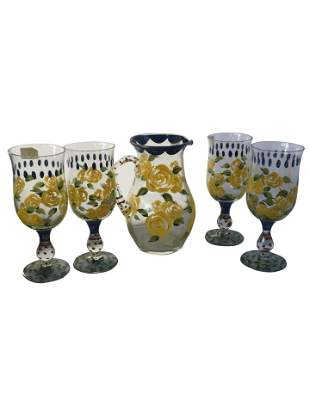 Set of Vintage 4 Hand Painted Glasses with Carafe