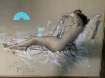 BISSI, Sergio, (Italian, 1901-1987):  Nude on a couch