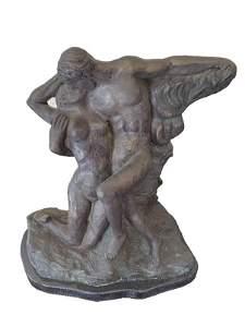 "RODIN Auguste  (1840-1917( Bronze ""The Kiss"""