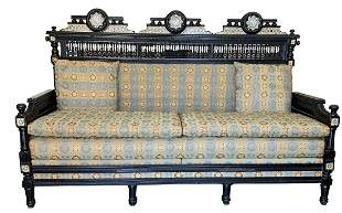 Exceptional Modern Dragon Sofa Rosewood and Silk
