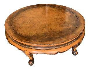 19th Century Chinese Elm Wood Orange Laquered Table