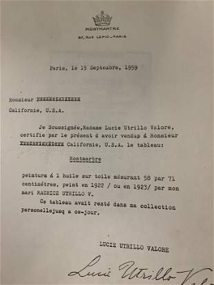 Letter Signed by Lucie Utrillo Valore