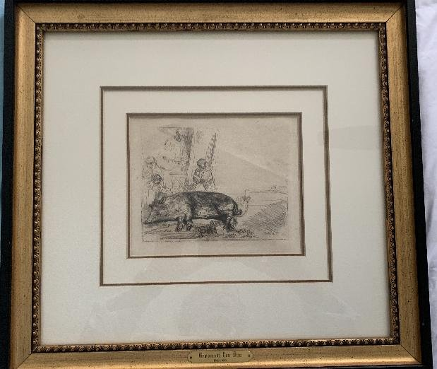 """REMBRANDT, Etching """" The Hog"""