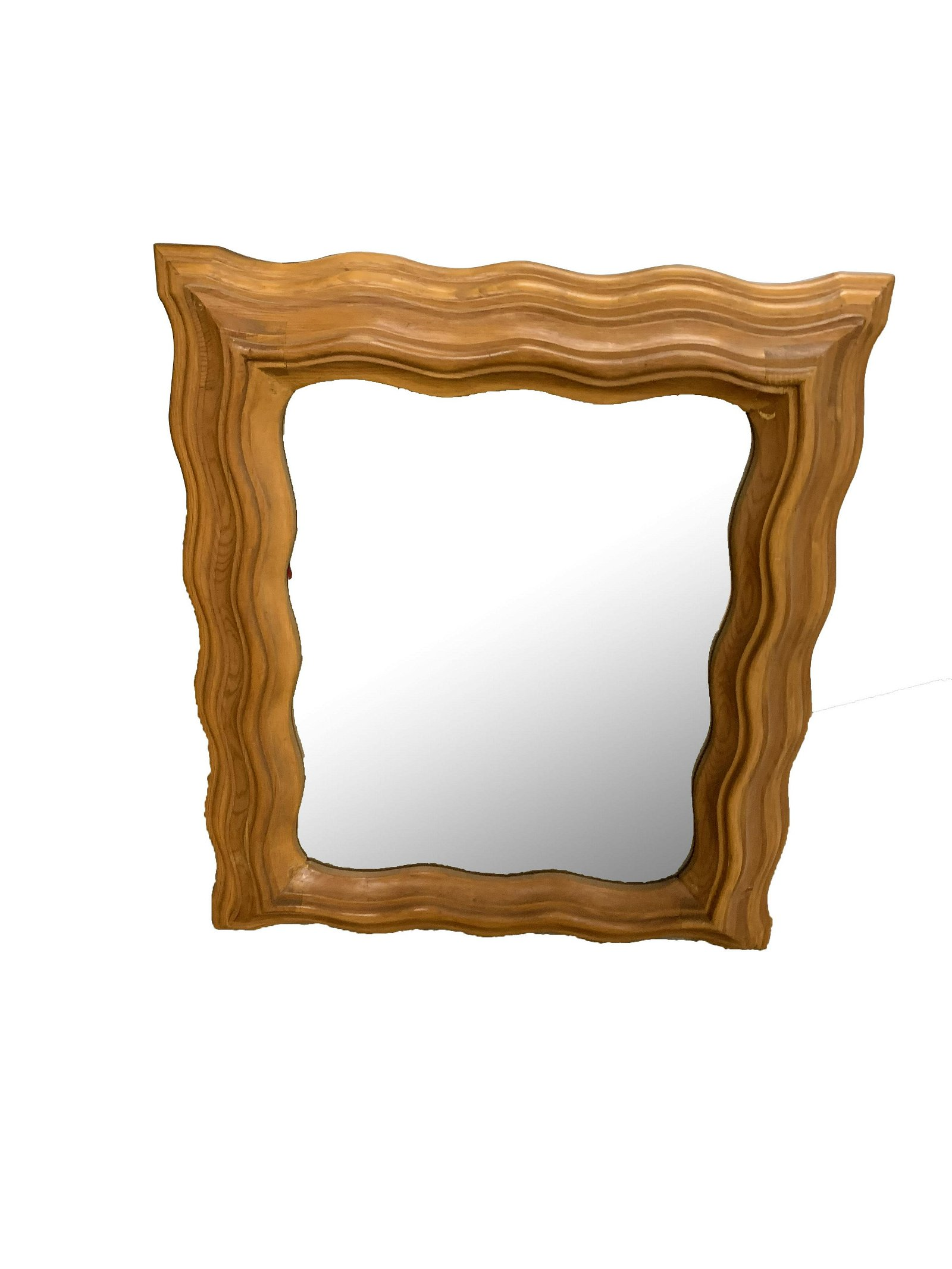 Vintage Mid-Size Wall Mirror Wood Frame