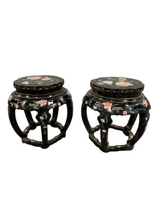 Pair of Chinese Contemporary Small Round Chairs