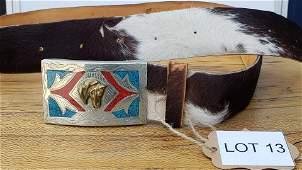 Vintage Mexican Alpaca Belt buckle with cowhide belt