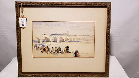 """Watercolor Signed by Millard Sheets """"France"""""""