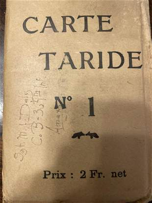 Carde Taride Used in the 1st World War, Map in Fine