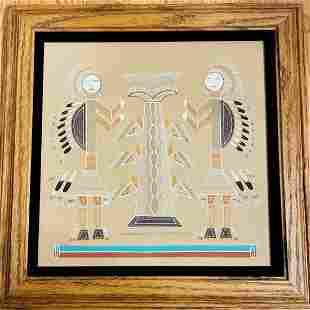 Kokopelli Navajo Sand Painting by Hosteen Etsitty