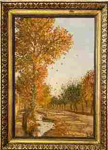 Illegible Signed Autumn Landscape Oil on Board