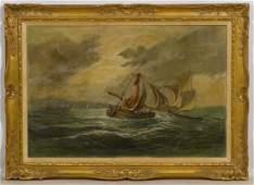 Italian Oil Painting Naval Battle at Sea