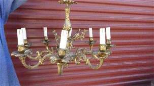 Louis XV Style Gilt Heavy Bronze 8 Lights Chandelier