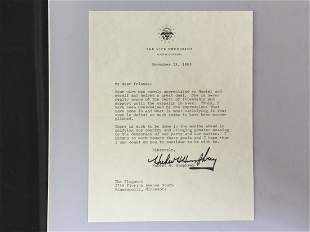 Authentic Signed Letter by Hubert Humphrey VP of USA.