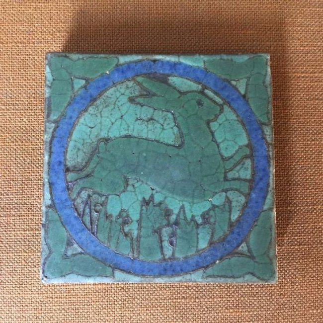Antique Grueby Pottery Tile Bunny in Landscape Matted