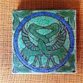 Antique Grueby Pottery Tile with Two Birds in Landscape