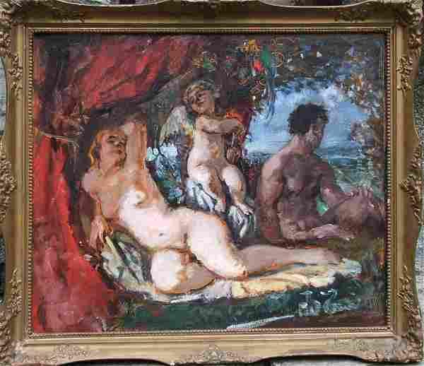 19th Century Hungarian Artist Herman Lipot Allegorical