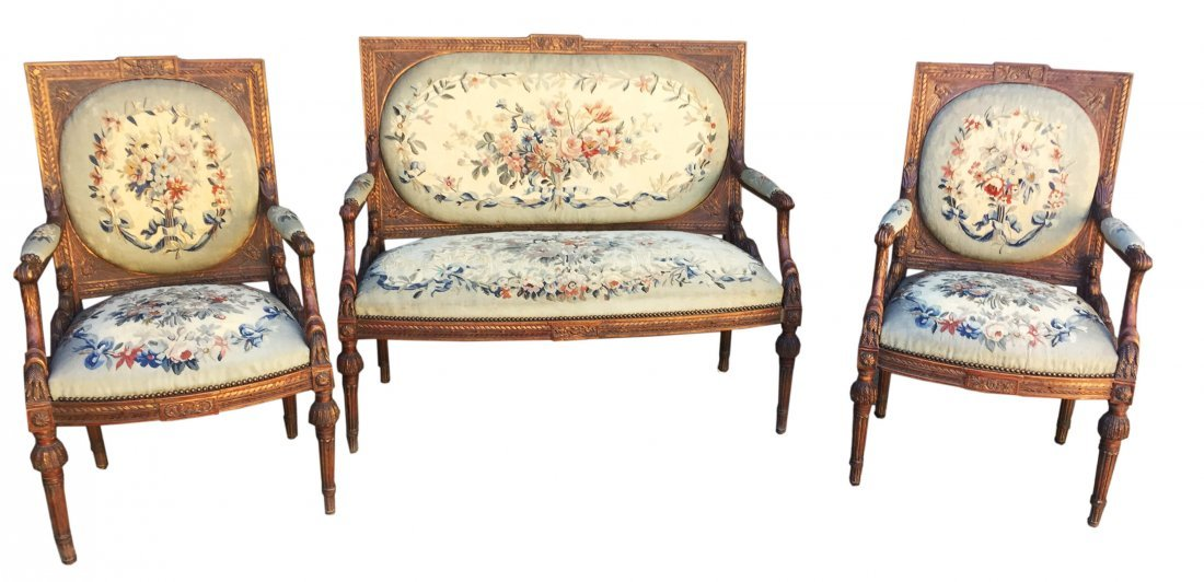 19th Century 5 Pieces Parlor Set with Tapestry