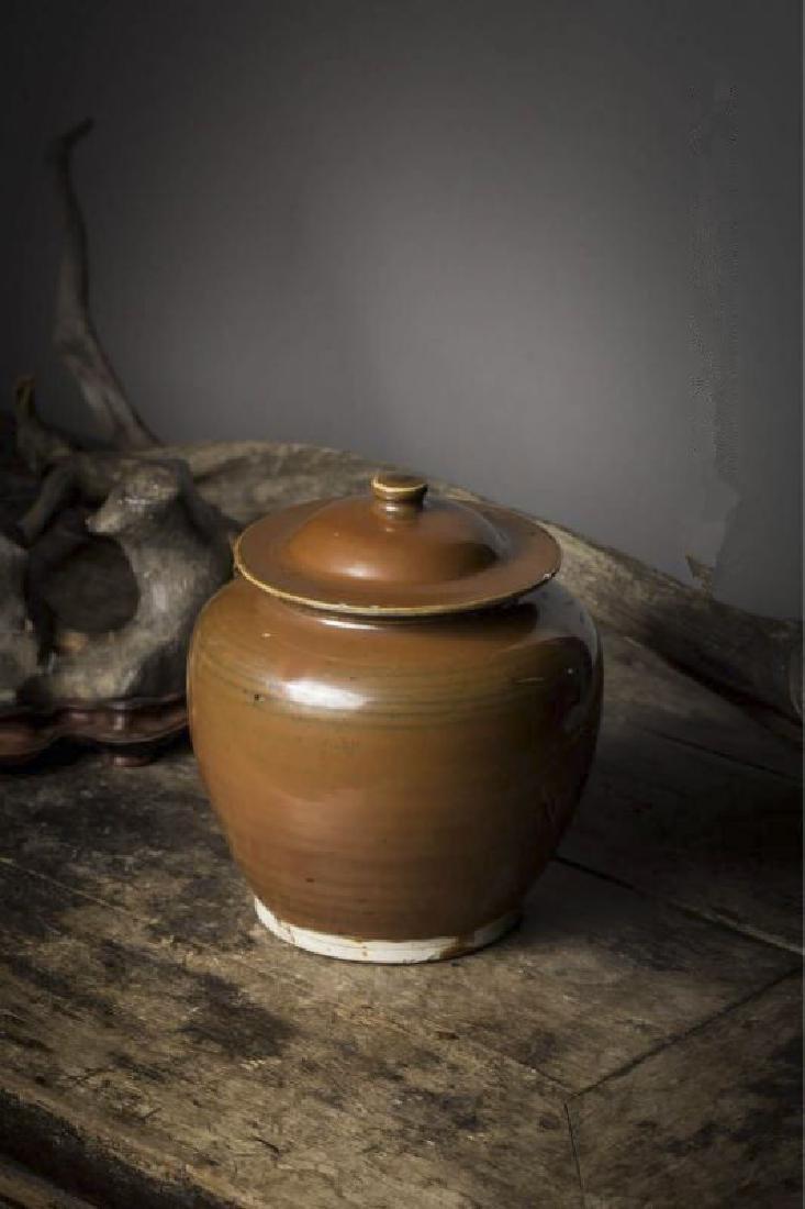 A BROWN-GLAZED JAR DING YAO JIN DYNASTY(907-1125)