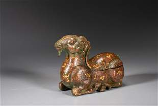 A gold inlaid bronze sheep lamp base Of the Western