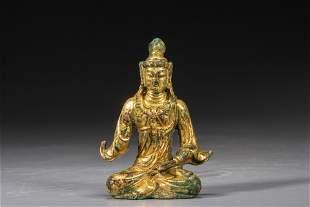 A gilt-bronze Buddha of Tang dynasty