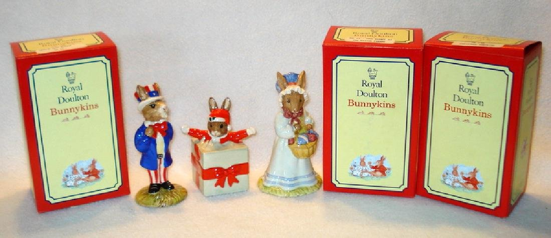 Three boxed Royal Doulton Bunnykins figurines.