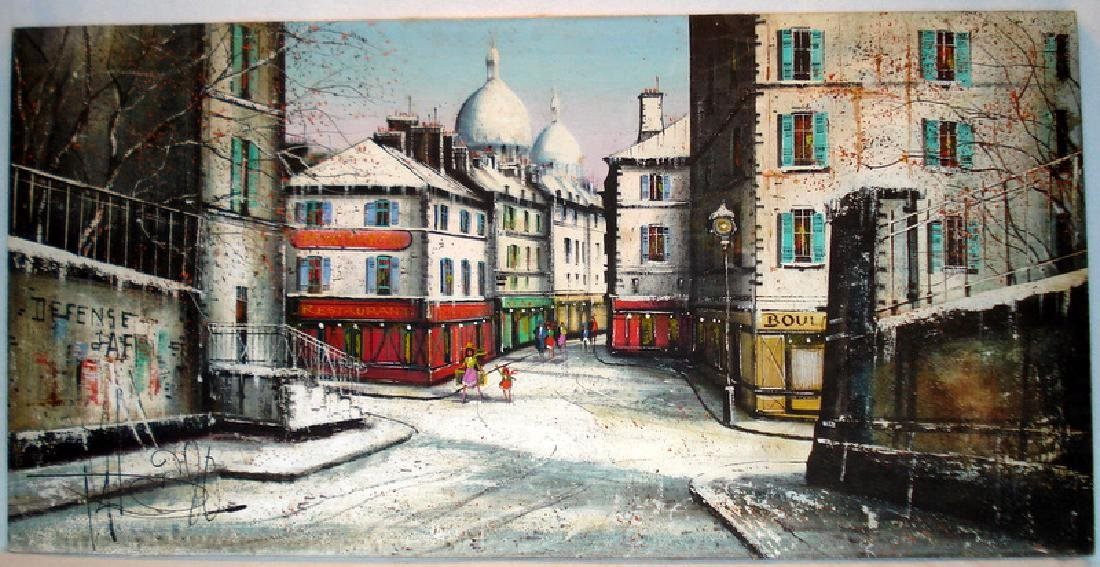 Large unframed oil on canvas of a Montmartre, Paris