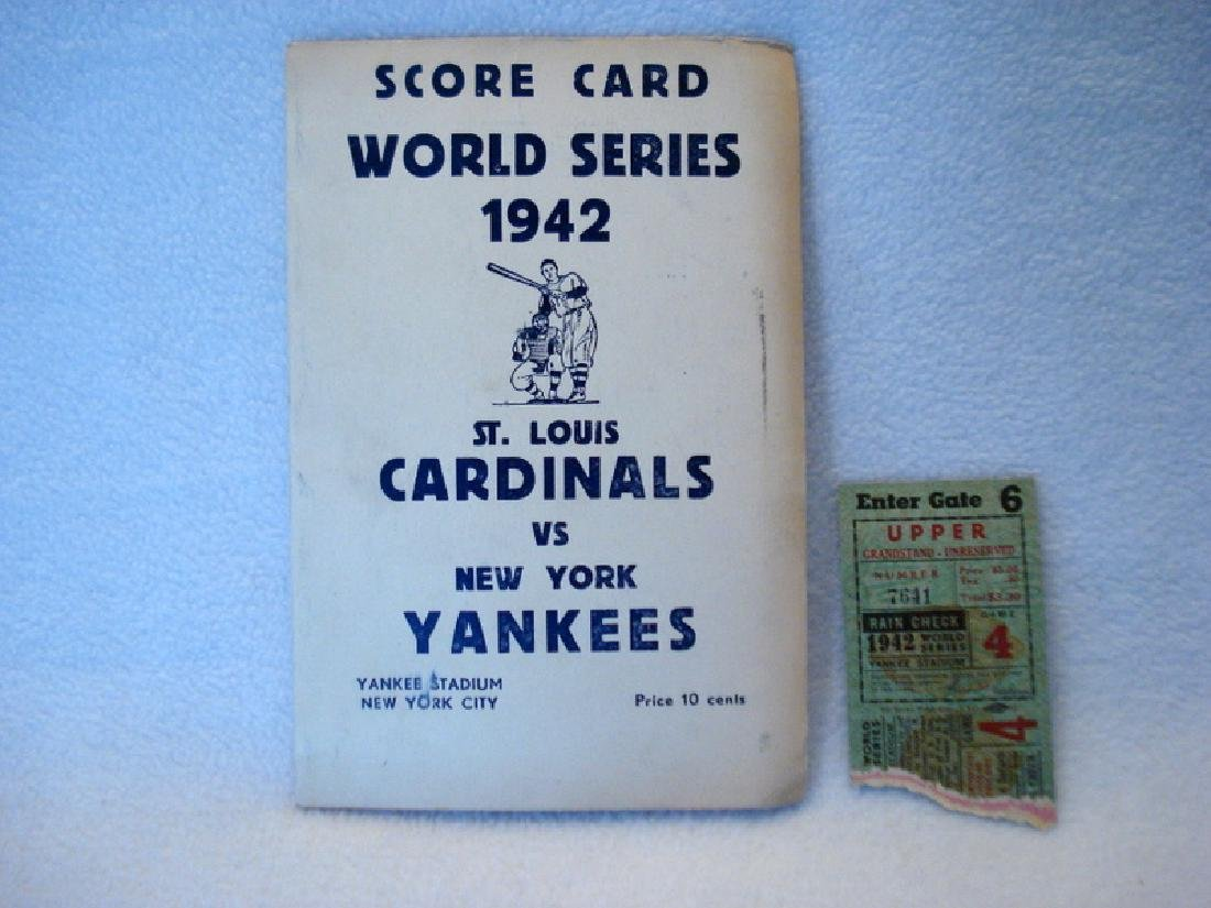 1942 World Series Score Card and ticket stub