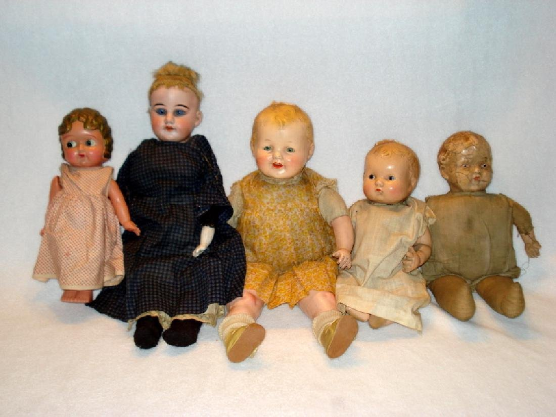Collection of Five estate Dolls for repair or