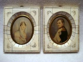 Pair of companion miniature portraits