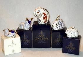 Five Royal Crown Derby paperweights