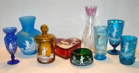 Nine Mary Gregory style glass items