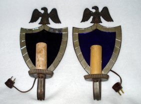 Pair of shield back mirrored sconces cobalt reflectors.