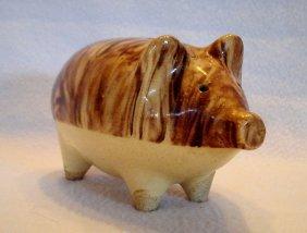 "Mottle Glazed Earthenware Pottery Pig Still Bank. 4"" H"