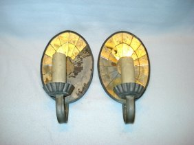 Pair Of Oval Mirrored Wall Sconces. One Sconce Has