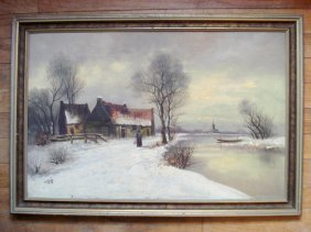 Oil On Board Signed V. Lent Of A Pond-side Homestead In