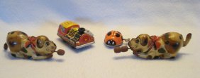 """Lot Of Four Tin Toys Including Two Dogs """"made In Us"""