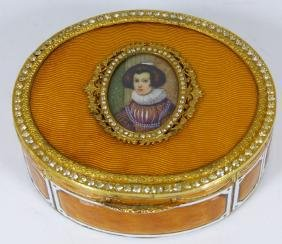 FRENCH GUILLOCHE ENAMEL & ORMOLU PORTRAIT BOX