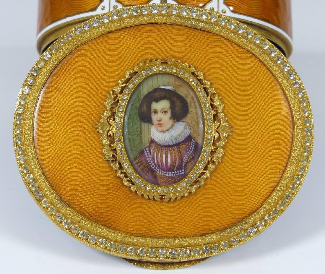 FRENCH GUILLOCHE ENAMEL & ORMOLU PORTRAIT BOX - 6