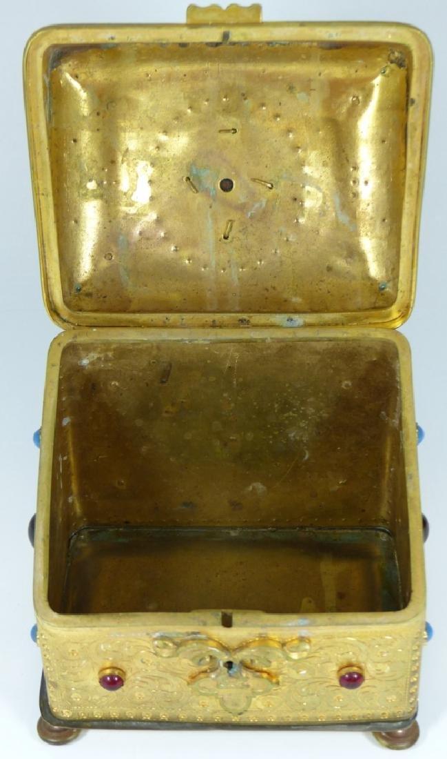 CONTINENTAL ORMOLU JEWELED BOX w PORCELAIN PLAQUE - 10