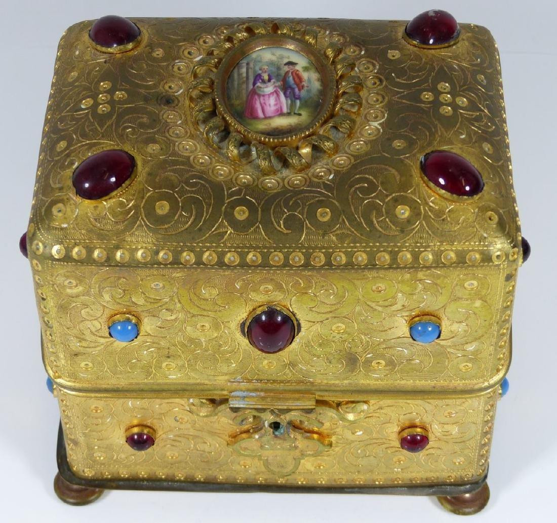 CONTINENTAL ORMOLU JEWELED BOX w PORCELAIN PLAQUE